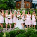 bridal party outdoors in the garden
