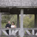 bride and groom in our covered bridge